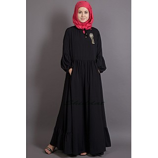 Bohemian black abaya with balloon sleeves