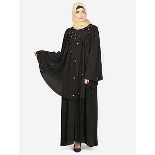 Black Cape abaya with beadwork