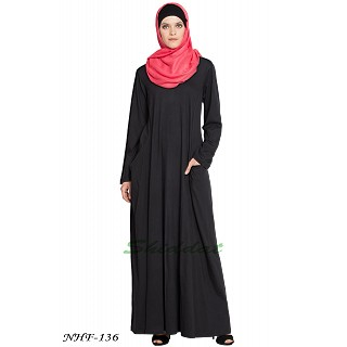 Travel Abaya in Jersey - Black
