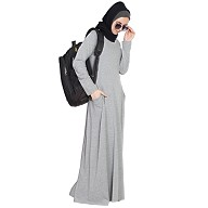 Travel Abaya in Jersey - Grey color