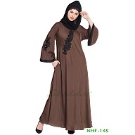 Umbrella abaya with embroidery patchwork- Coffee Brown