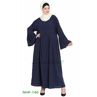 Front open pleated abaya- Navy Blue