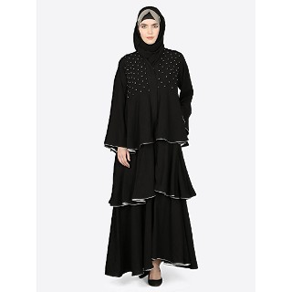 Designer abaya with multiple bell layered- Black