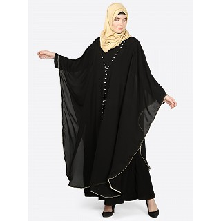 Double layered Kaftan abaya- Black