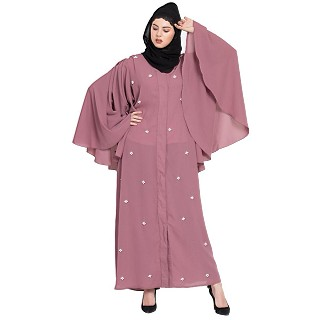 Front open  Dubai Kaftan with Butterfly sleeve- Puce pink