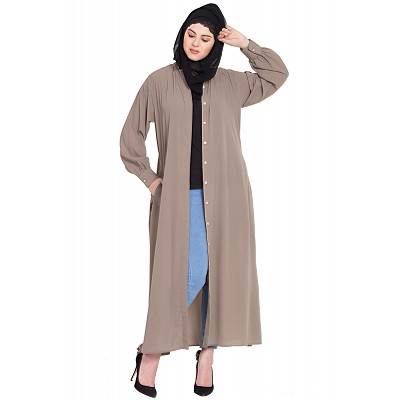 Front open Cardigan abaya- Beige color