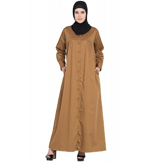 Front open Casual pleated abaya- Camel color