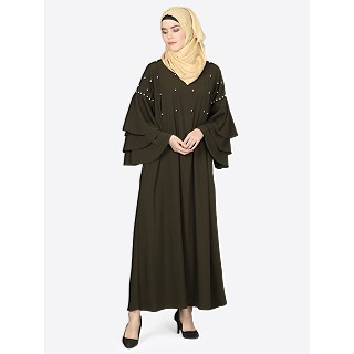 Pearl beaded abaya with Bell sleeves- Olive Green