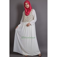 Embellished White Party wear Burqown