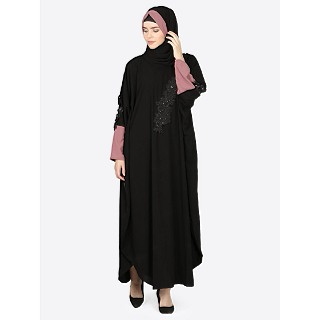 Party wear kaftan with patch work- Black and puce pink