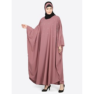 Pearl beaded Kaftan abaya- Mauve color