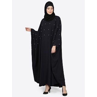Pearl beaded Kaftan abaya- Black