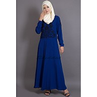 Embroidered party wear Abaya - Royal Blue