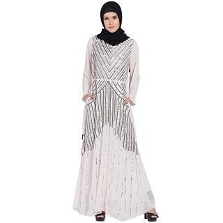 Designer party wear Embellished abaya-light pink