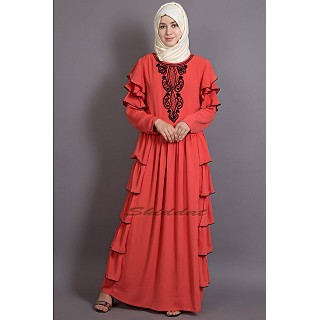 Party wear designer frilled Abaya- Orange