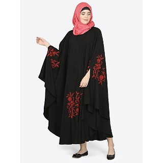 Designer Kaftan abaya with embroidery work-Black and Red