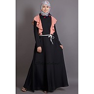 Dual colored A-line Abaya with frills