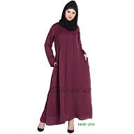 Party wear abaya with pintucks- Wine