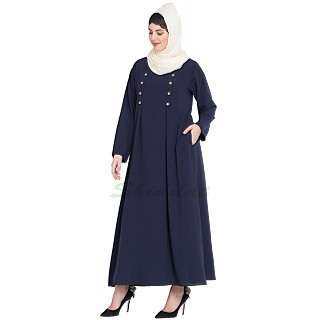Casual abaya- Navy Blue