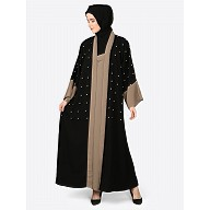 Double layered Dubai abaya- Black-Khaki