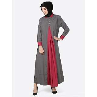Casual abaya - Grey-Wine color