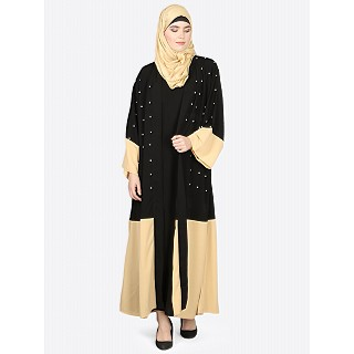 Double layered abaya- Black-Beige
