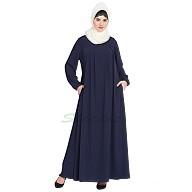 Casual pleated abaya- Navy Blue