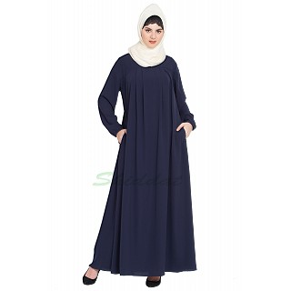 Casual pleated abaya- Navy Blue
