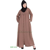 Front open casual abaya- Beige