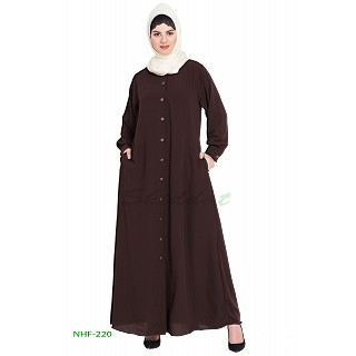 Front open casual abaya- Brown color