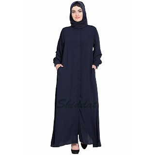 Front open Cardigan abaya- Navy Blue