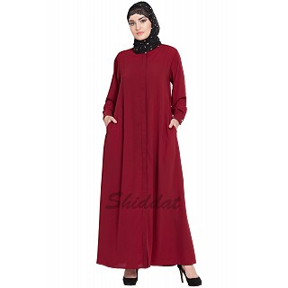 Front open Cardigan abaya- Red color