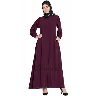 Front open Cardigan abaya- Wine color