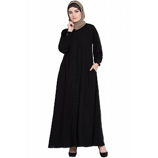 Front open Cardigan abaya- Black color