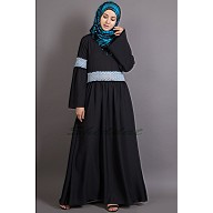 Classic abaya with Lace work - Black