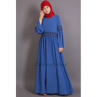 Classic abaya with Lace work  -  Electric Blue