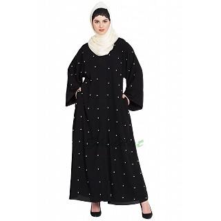 Front open Dubai abaya- Black