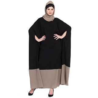 Irani Kaftan with front zipper-Black and Khaki