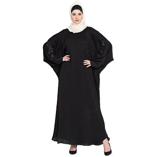 Premium butterfly Kaftan with patch work- Black