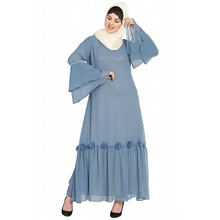 Party wear abaya- Petrol Blue