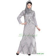 122730e940 Denim Abaya online in India- Contrast Yoke pocket cuff Grey Black ...
