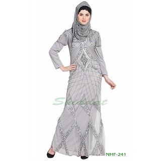 Designer embellished party wear Gown- Silver Grey