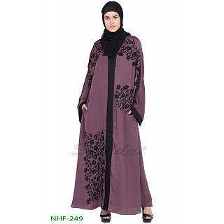 Front open embroidered Dubai abaya- Purple