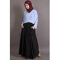 Dual colored abaya- Pleated maxi dress
