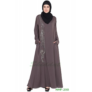 Umbrella abaya with simple stonework- Ash Brown
