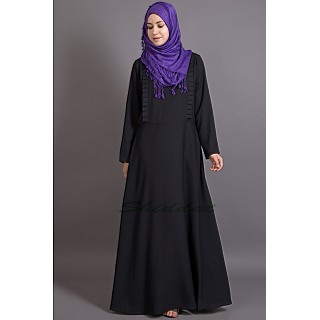 Frill casual abaya - Black