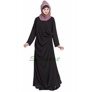 Pleated casual abaya- Black