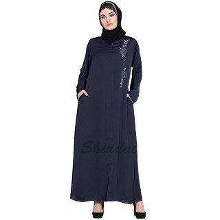 Designer Nida abaya with handwork- Navy Blue
