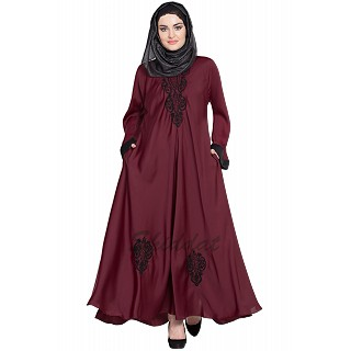 Embroidered Umbrella cut Nida abaya- Maroon