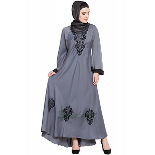 Embroidered Umbrella cut Nida abaya- Grey